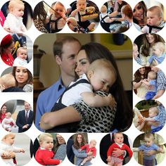 Prince William, Duchess Kate, and Prince George collage of their trip to New Zealand and Australia, April 2014