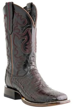 Mens Lucchese Black Cherry Crocodile Tail Belly Cowboy Boots
