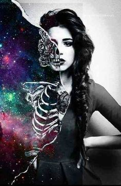 ::Trippy shit::half and half::skeletal::galaxy girl::skeleton girl::Trippy mane::keep calm you're just tripping::NoEllie0123
