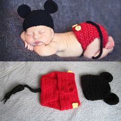 Newborn Baby Crochet Photo Prop Mickey Mouse Hat Cover Set Costume 0-6 month,baby crochet,newborn baby photo prop,baby costume on Etsy, $15.99