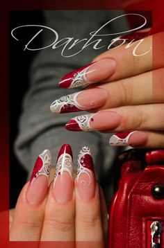 Pinned by www.SimpleNailArtTips.com FRENCH MANICURE NAIL ART DESIGN IDEAS - ADVANCED White and grey roses with red accents