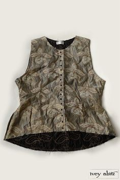 Bonheur Vest in Horsetail Embroidered Silk Organza over Cotton Voile from Ivey Abitz