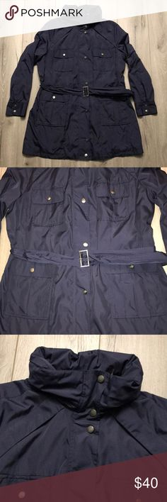 "Cole haan rain jacket parka w/hood navy blue Excellent condition size tag is missing but a size large. Measurements are chest pit to pit approx 22 1/2"" , sleeve pit to cuff 17 1/2"", length top back collar base to hem 34"" Cole Haan Jackets & Coats"