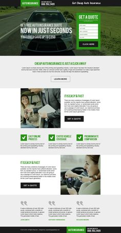 cheap auto insurance free quote responsive landing page