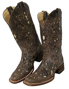 Corral Boots Distressed Brown with Inlay & Studs. I could go for some boots like this in my closet.