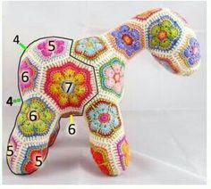 Crochet Squares, Crochet Motif, Crochet Flowers, Crochet Patterns, Crochet Home, Crochet Baby, African Flower Crochet Animals, Stuffed Animal Patterns, Amigurumi Patterns