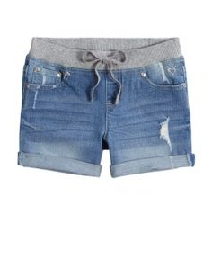 Knit Waist 3.5 In Roll Cuff Denim Shorts