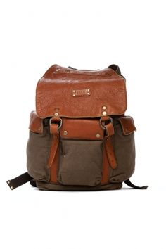 Type: Backpack / Color: Brown, Grey / Details: Belt Closure / Material: Leather, Canvas / Brand: Will / Style: Lennon Bag  will - lennon bag (tabacco)