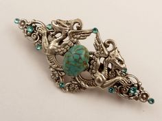 Large hair clip in turquoise silver with dragon motif, Fantasy Hair Jewelry, Barrette Medieval, LARP hair jewelry, Gothic Hair Accessories - pinned by pin4etsy.com