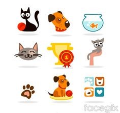 9 section of cartoon pet icon vector
