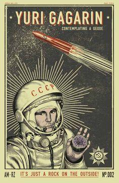 New prints by Ravi Zupa x Arna Miller Juri Gagarin, Space Artwork, Propaganda Art, Airplane Art, Soviet Art, Cool Posters, Illustrations And Posters, Grafik Design, Vintage Posters