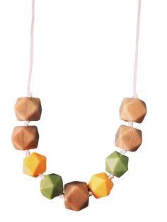 Geo Roségold Natur Zahnen-Halskette