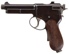 Steyr Roth-Krnka Model 1897 pistol    Designed by Karel Krnka and manufactured by Steyr in Austria c.1897-9 - serial number 77.  7,65x21mm Mannlicher 10-round stripper clip-fed internal magazine, long recoil semi automatic, experimental grip safety. The hammer can be put on half-cock, single action trigger or by default on a double action trigger pull, with a decocker that brings it back to that position from single action.
