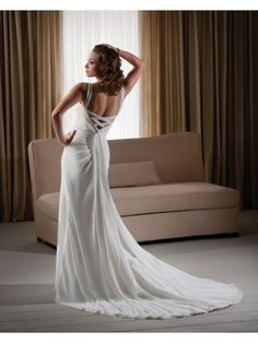Chiffon Pleated Empire Bodice A-line Wedding Dress