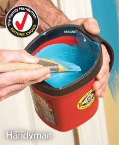 The Handy Paint Pail is easy to hold without hand fatigue--plus it comes with a magnet for the paintbrush