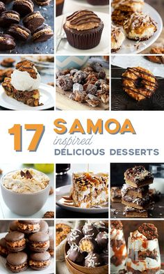 17 Delicious Samoa Inspired Desserts that will make you fall in love with Samoas in totally new ways! Unique Desserts, Fun Desserts, Delicious Desserts, Girl Scout Cookies Recipes, Cookie Recipes, Best Dessert Recipes, Sweet Recipes, Top Recipes, Yummy Treats