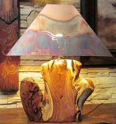 One of a kind Mesquite wood lamp with copper shade.