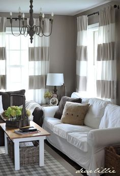 Drapes with bold horizontal stripes. Call Budget Blinds to view our Inspired Drapes collection today!
