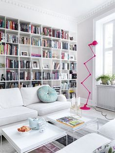 Wall of books behind the sofa.