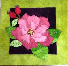 Wild Rose-- love the verigated thread on the leaves--Block of the Wooly Lady Heirloom Blooms block of the month, done by Abby Geddes Wool Applique Patterns, Hand Applique, Felt Applique, Applique Quilts, Felted Wool Crafts, Felt Crafts, Wool Quilts, Flower Quilts, Wool Embroidery