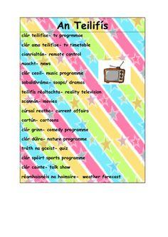 An Teilifís- Ceisteanna agus Focail by Muinteoir na Gaeilge Classroom Wall Displays, Classroom Walls, Primary Teaching, Primary School, Irish Poems, Gaelic Words, Irish Language, 5th Class, Group Work