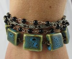 Ceramic Blue and Green Beaded Chain Bracelet by Unfeather by Robyn