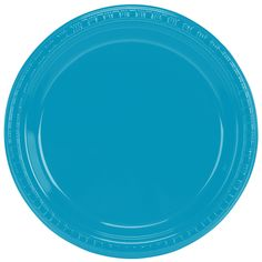 """Creative Converting 28313121 9"""" Turquoise Plastic Plate - 20 / Pack"""