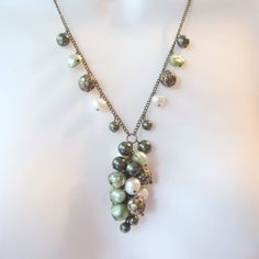 Cluster Pendant Necklace  Green Ivory Pearls  Long by TheWireRose, $30.00