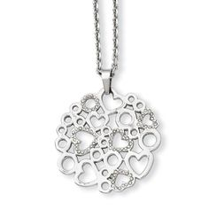 Stainless Steel Polished & CZ Hearts Pendant Necklace SRN779