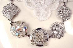 OOAK Clear Crystal & Rhinestone Silver Bridal Bracelet, Heirloom Vintage Cluster Earring Bridesmaids Jewelry 1920 Old Hollywood Wedding Gift by AmoreTreasure