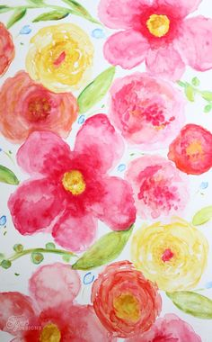DIY Large floral watercolour- beginner watercoloring