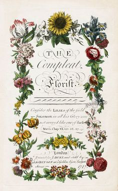 Antique Botanica book J. Duke Compleat Florist Botanicals 1747