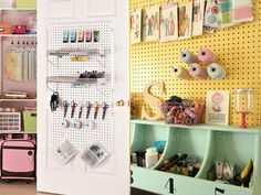 Yellow-painted-pegboard-and-closet-door-pegboard