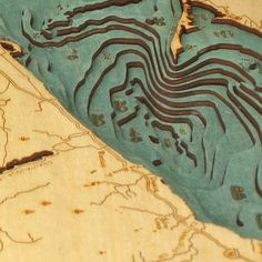Below the Boat - Lake Erie  Laser-cut nautical topographic maps
