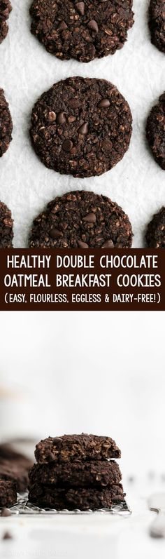 gluten free breakfasts Healthy Flourless Double Chocolate Oatmeal Breakfast Cookies soft, chewy & SO good! Like eating brownies for breakfast! Healthy Muffins For Kids, Healthy Breakfast Muffins, Clean Eating Breakfast, Healthy Cookies, Healthy Sweets, Healthy Baking, Eating Clean, Healthy Kids, Clean Eating Chocolate