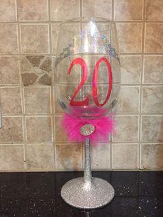 Princess glitter wine glass with name or age by GlitzyGlitterGal