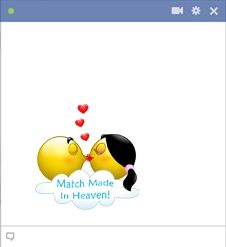 Two kissing smileys are match made in heaven..