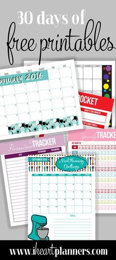 Lots of free printables for home organizing, calendars, meal planners, and more!