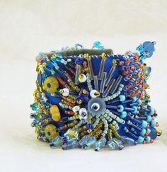 Embroidered cuff bracelet Freeform design beaded with by Flola, $110.00 Beaded Cuff Bracelet, Beaded Jewelry, Cuff Bracelets, Handmade Jewelry, Unique Jewelry, Handmade Gifts, Embroidery Bracelets, Beaded Embroidery, Hand Embroidery