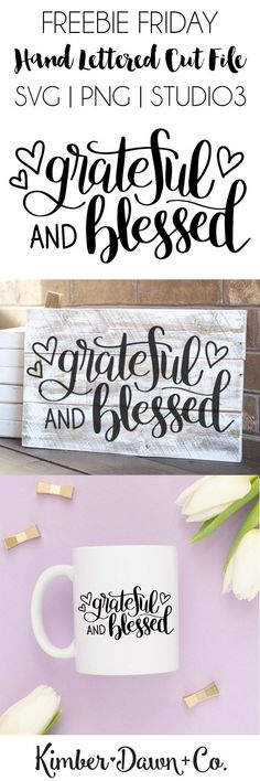 """Hand Lettered Grateful and Blessed Free SVG Cut File  Hand Lettered Grateful and Blessed Free SVG Cut File  Who's ready for some Thanksgiving crafting?! We sure are. Not to mention """"Grateful and Bles"""