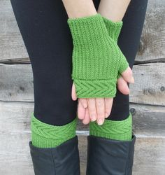 Knitted green Boot Cuffs and mittens Leg от WarmGiftsForYou