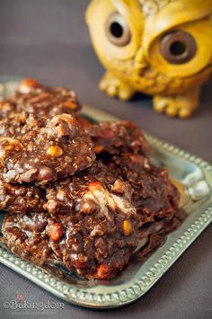 These were a HUGE hit - a MUST try. Cockroach Clusters (in honor of Harry Potter) or No-Bake Chocolate Cookies with Pretzels, Reese's Pieces, and Marshmallows