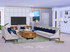 Livingroom inspired by Clive Christian. Esp. the Polstery and Bartable. Other designs are included like the Side- and Coffeetable and so...  Found in TSR Category 'Sims 4 Living Room Sets'