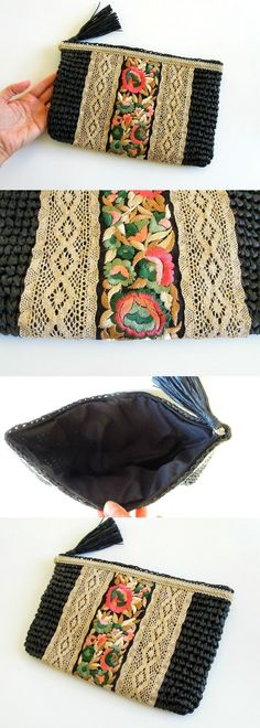 Black synthetic crocheted raffia pouch, decorated with embroidered SILK and GOLD trims. I decorate all my bags by hand using lush materials to create stunning accessories that are unique. Sewing Patterns, Crochet Patterns, Boho Bags, Crochet Purses, Embroidered Silk, Pouch Bag, Handmade Bags, Small Bags, Purses And Bags