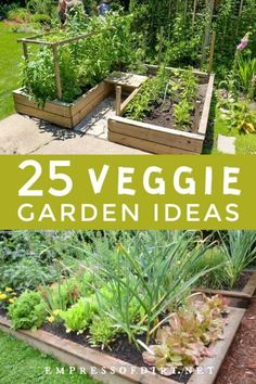 Container Vegetable Gardening These vegetable garden ideas include raised beds, containers, and in-ground designs for any size yard or patio. garden in ground Backyard Vegetable Gardens, Vegetable Garden Design, Small Garden Design, Garden Landscaping, Small Space Gardening, Small Gardens, Kew Gardens, Raised Garden Beds, Raised Beds