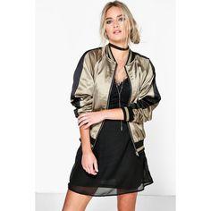 Boohoo Zoe Satin Raglan Sleeve Zip Through Bomber Jacket ($44) ❤ liked on Polyvore featuring outerwear, jackets, khaki, bomber style jacket, khaki bomber jacket, blouson jacket, raglan jacket and zip bomber jacket