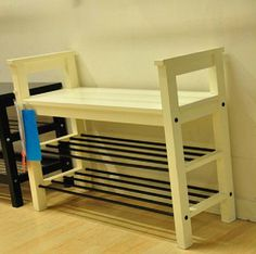 Shoe cabinets: HEMNES Bench with shoe storage,white