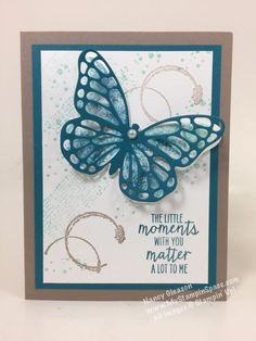 Baby Wipe Technique, Watercolor Wings, Butterfly, Timeless Texture, butterfly cards, Nancy Gleason, MyStampinSpace, learn to make cards, papercrafts, card making tutorials