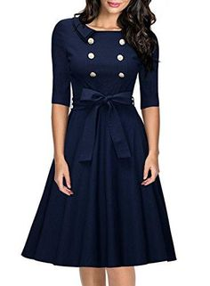 Miusol Womens 34 Sleeve Classy Casual Belted Vintage Retro Evening Swing Dress Navy Blue Medium >>> Click image for more details.