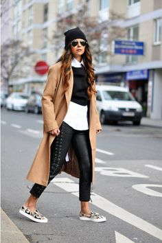 Woman's fashion /Camel Coat with black & white outfit